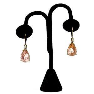JOAN RIVERS~pink crystal~TEARDROP EARRINGS